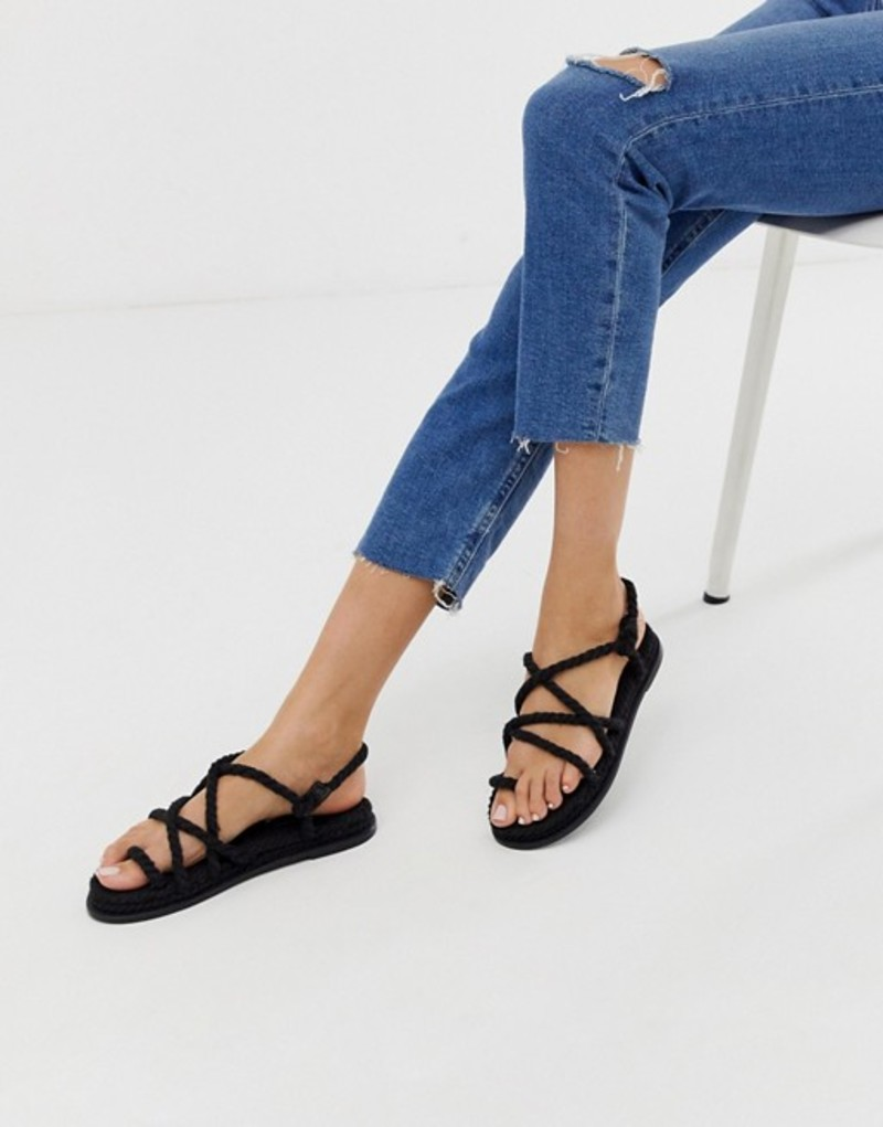 エイソス レディース サンダル シューズ ASOS DESIGN Foxx premium chunky rope sandals Black
