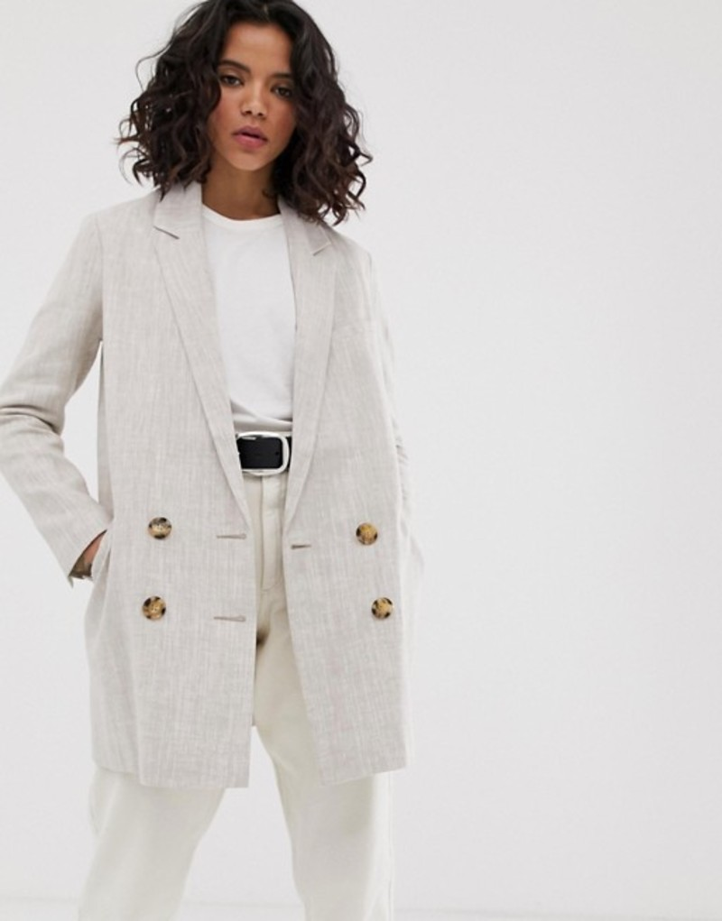 エイソス レディース コート アウター ASOS DESIGN linen coat with contrast buttons Stone