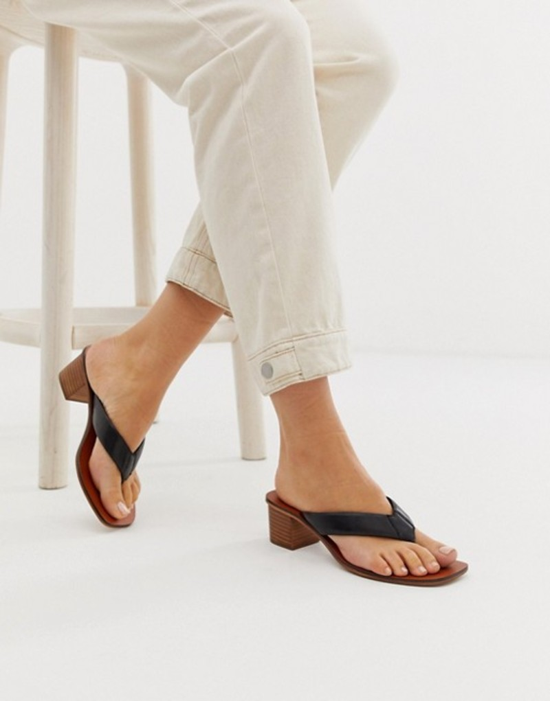 エイソス レディース サンダル シューズ ASOS DESIGN Timeless leather thong sandals in black Black leather