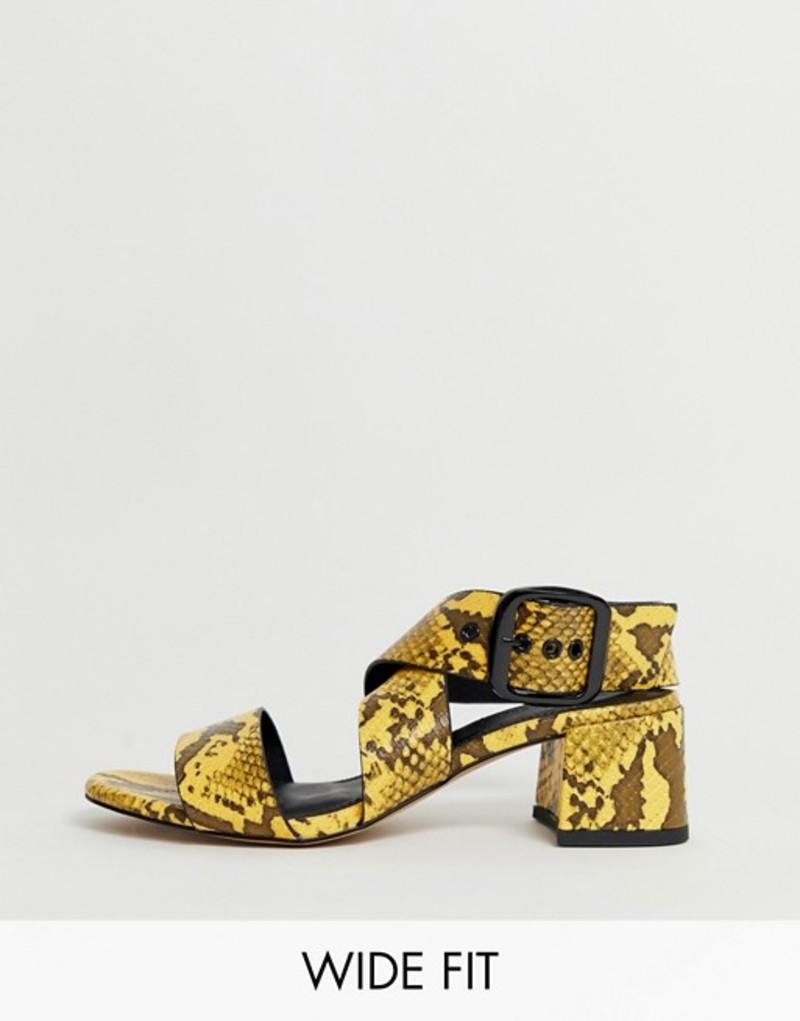 エイソス レディース サンダル シューズ ASOS DESIGN Wide Fit Hip Hop heeled sandals in yellow snake Yellow snake