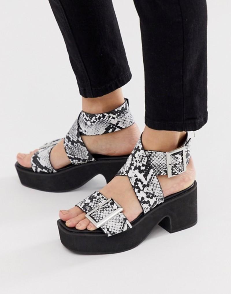 エイソス レディース サンダル シューズ ASOS DESIGN Halford chunky heeled sandals in black and white snake Black/white snake