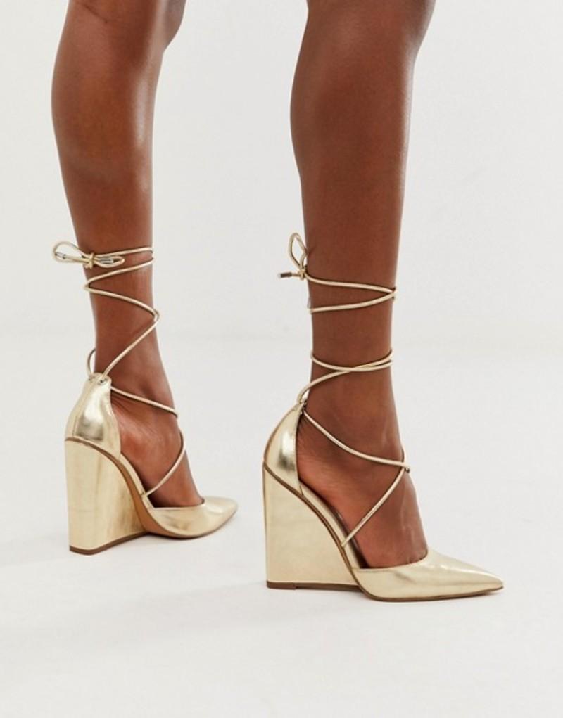 エイソス レディース サンダル シューズ ASOS DESIGN Porter high heeled wedges in pale gold Pale gold