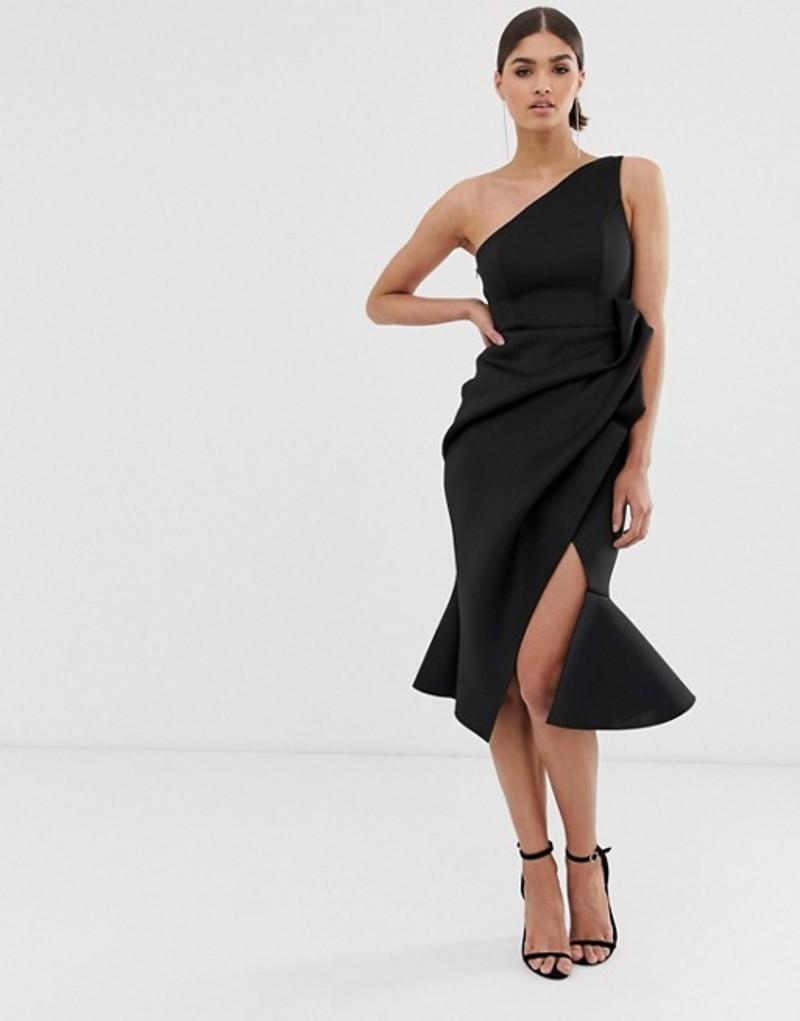 エイソス レディース ワンピース トップス ASOS DESIGN one shoulder tuck detail midi dress Black