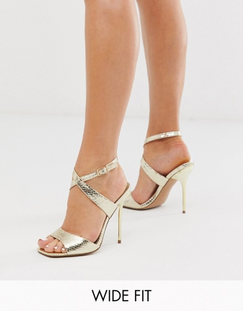 エイソス レディース ヒール シューズ ASOS DESIGN Wide Fit Weave barely there heeled sandals in gold Gold