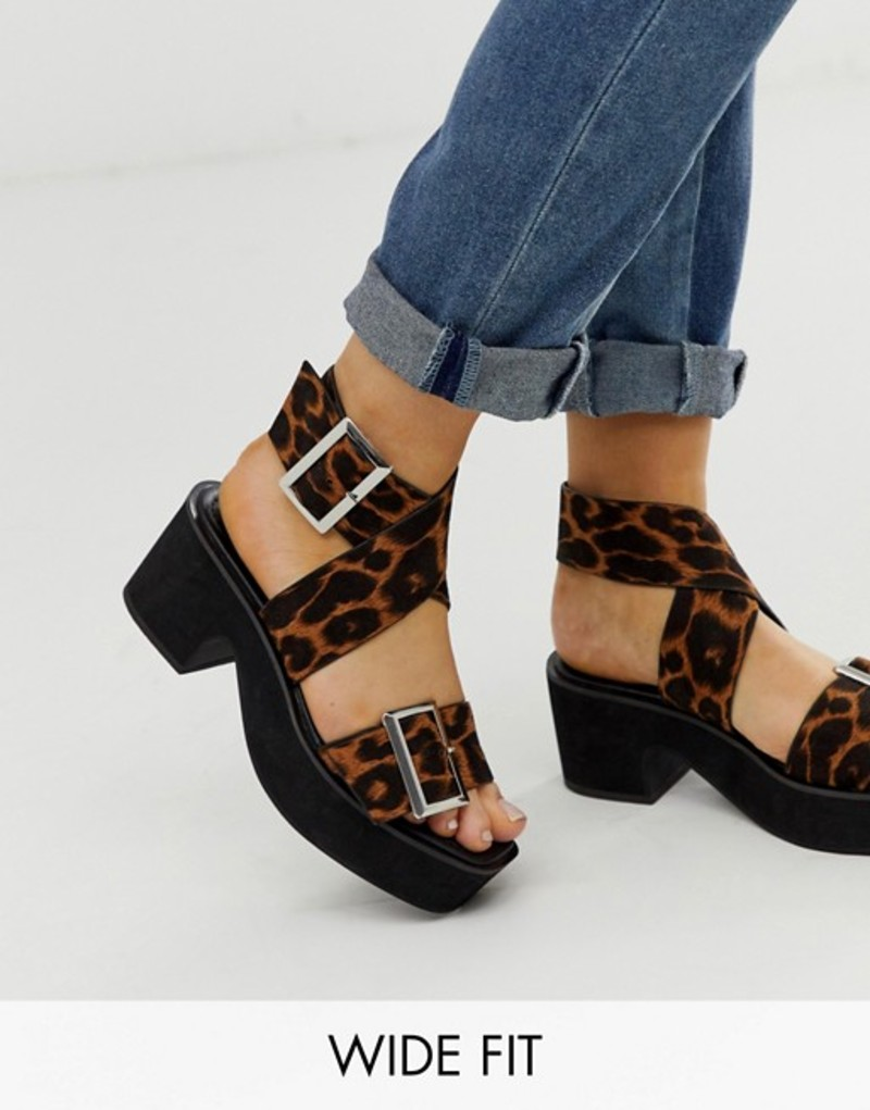 エイソス レディース サンダル シューズ ASOS DESIGN Wide Fit Halford chunky heeled sandal in leopard Leopard