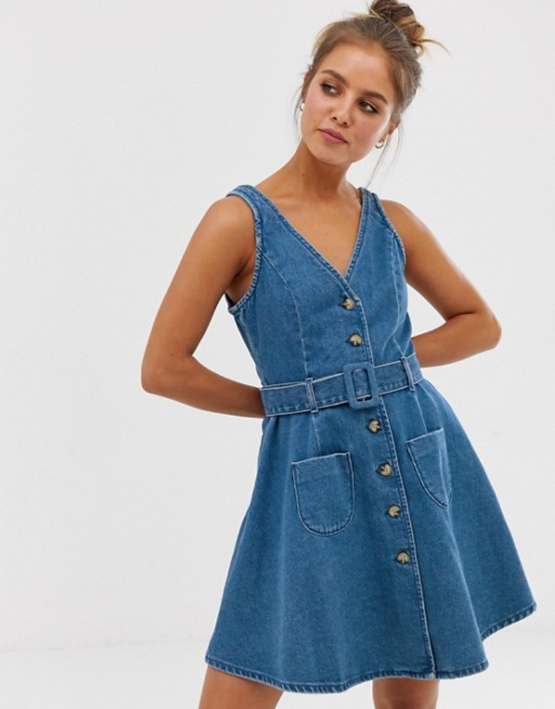 エイソス レディース ワンピース トップス ASOS DESIGN denim skater button through dress with belt in blue Midwash blue