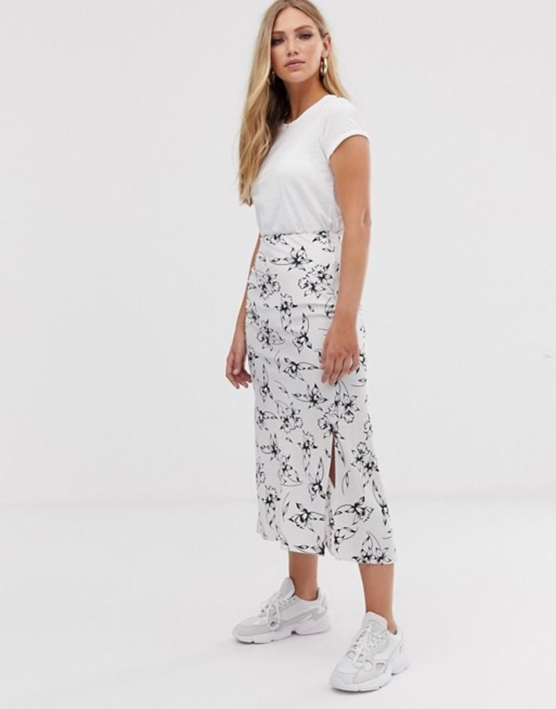 エイソス レディース スカート ボトムス ASOS DESIGN bias cut satin midi skirt with splits in silver floral print Silver floral