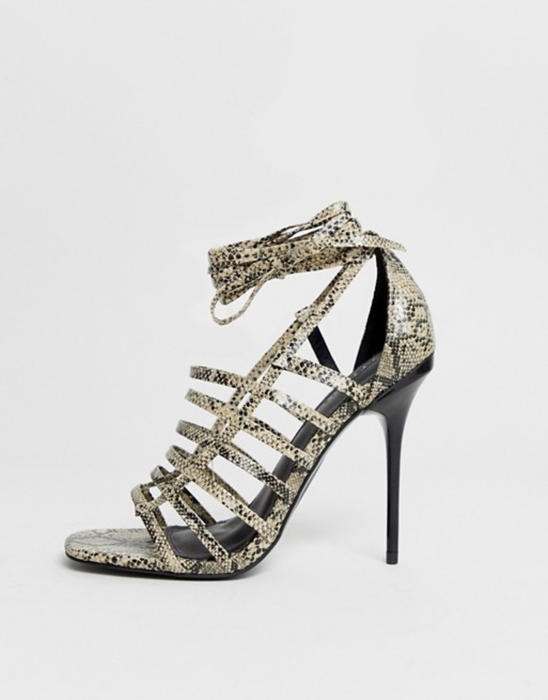 エイソス レディース サンダル シューズ ASOS DESIGN Half Way strappy stiletto heeled sandals Snake