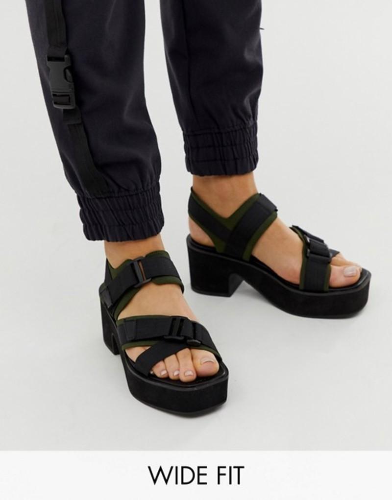エイソス レディース サンダル シューズ ASOS DESIGN Wide Fit Ward chunky strappy mid heeled sandals in khaki and black Khaki and black