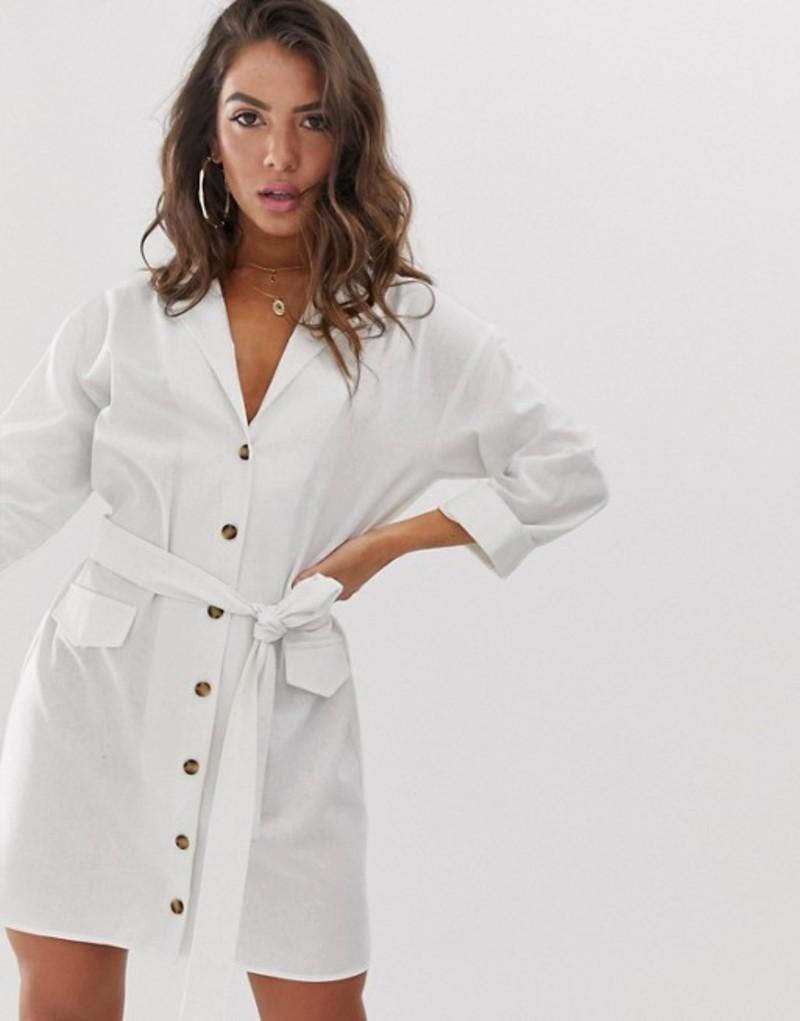 エイソス レディース ワンピース トップス ASOS DESIGN mini shirt dress with belt in linen White