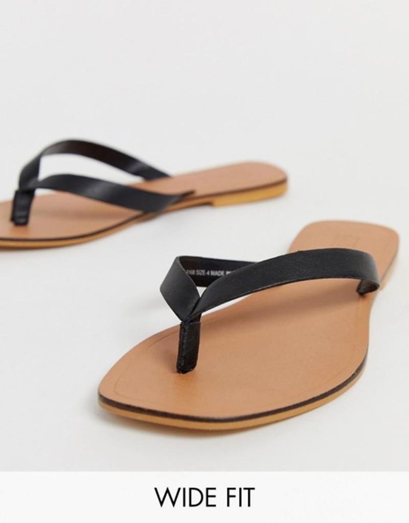 エイソス レディース サンダル シューズ ASOS DESIGN Wide Fit Florence leather flip flop sandals in black Black
