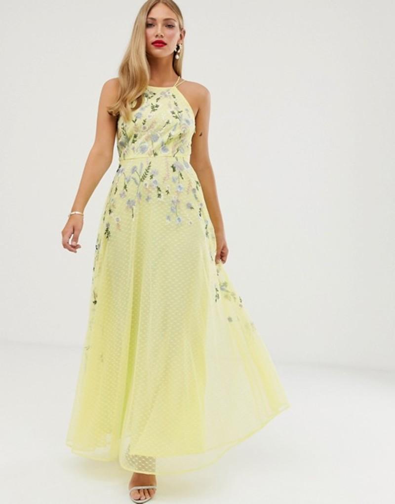 エイソス レディース ワンピース トップス ASOS DESIGN maxi dress with pinny bodice in embroidered dobby Lemon