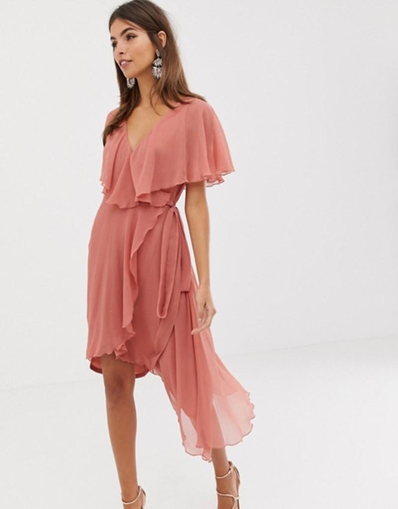エイソス レディース ワンピース トップス ASOS DESIGN cape back dipped hem midi dress Rose pink