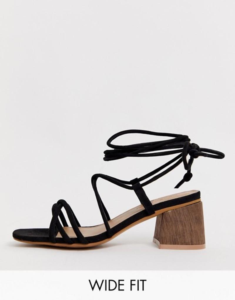 エイソス レディース サンダル シューズ ASOS DESIGN Wide Fit Topaz strappy tie leg sandals in black Black