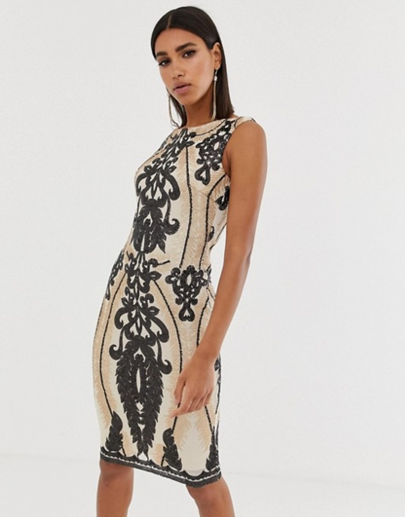 ゴッドディバ レディース ワンピース トップス Goddiva high neck placement sequin midi dress in taupe and black Taupe and black