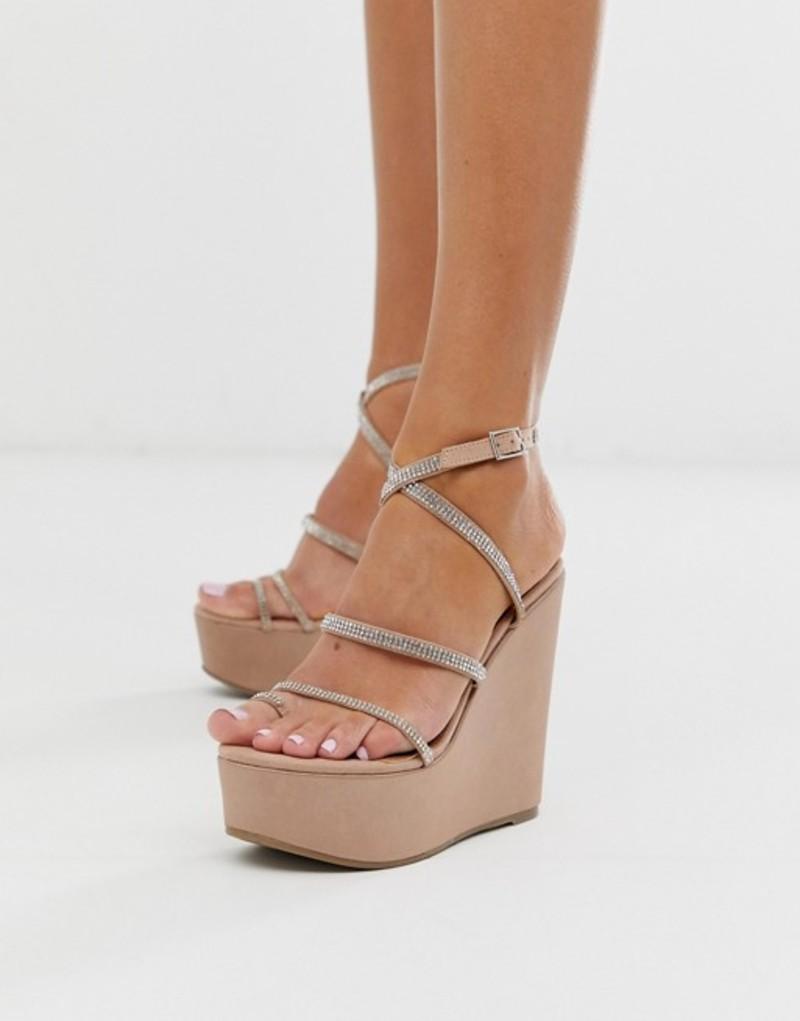 エイソス レディース サンダル シューズ ASOS DESIGN Tantalize toe loop embellished wedges in nude Pale pink