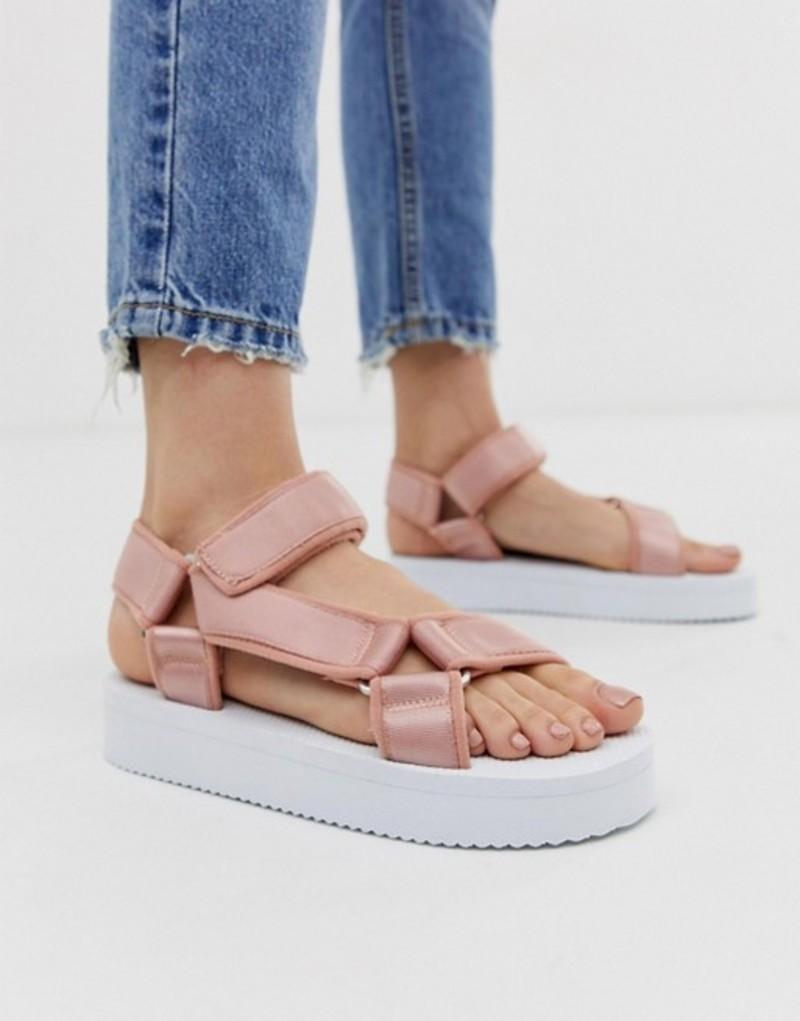 エイソス レディース サンダル シューズ ASOS DESIGN Frontline sporty sandals in taupe Pink