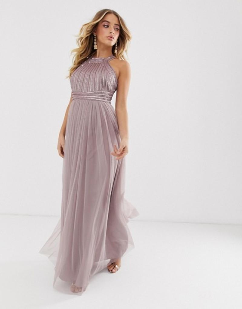 エイソス レディース ワンピース トップス ASOS DESIGN maxi dress with linear sequin and beaded bodice and tulle skirt Mink