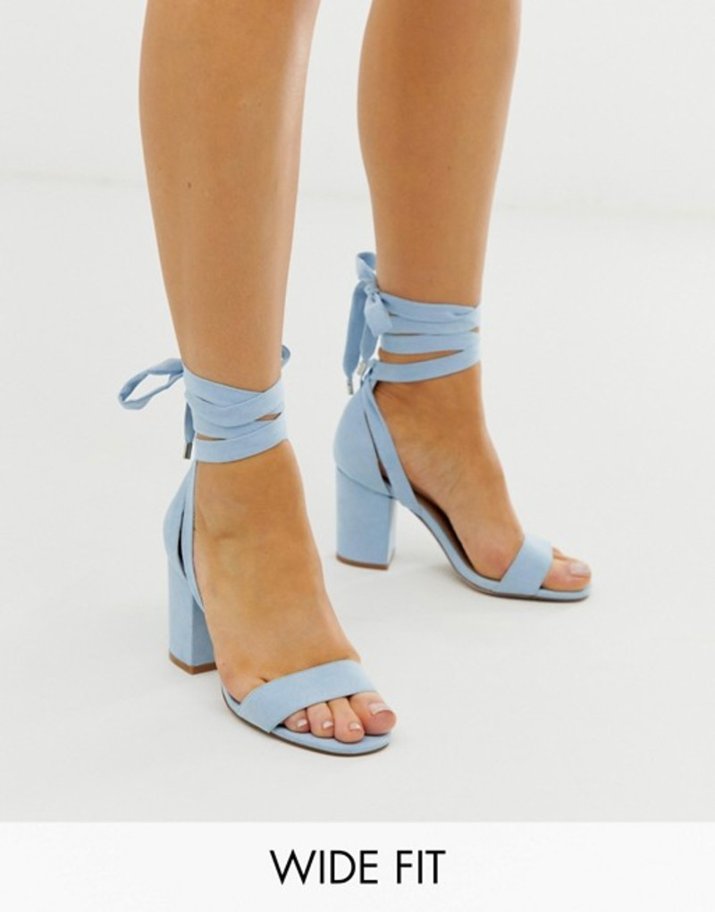 エイソス レディース サンダル シューズ ASOS DESIGN Wide Fit Howling tie leg block heeled sandals in cornflower blue Cornflower blue
