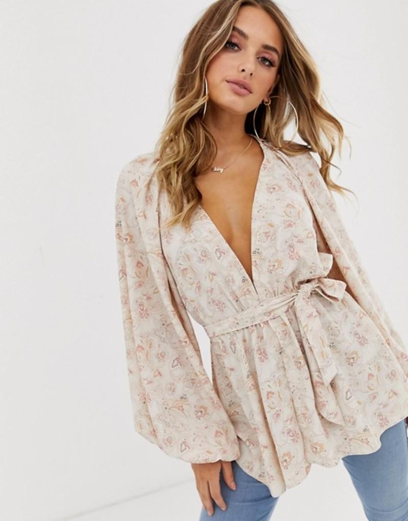 エイソス レディース シャツ トップス ASOS DESIGN long sleeve plunge top with kimono sleeve and belt in paisley print Multi