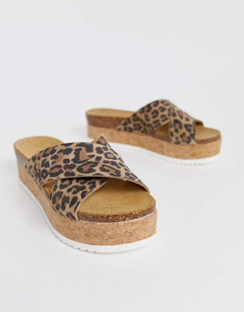 エイソス レディース サンダル シューズ ASOS DESIGN Transaction leather flatforms in leopard Leopard
