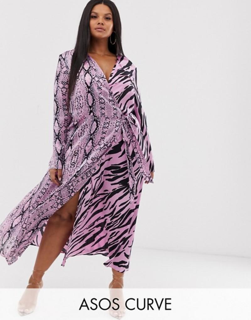 エイソス レディース ワンピース トップス ASOS DESIGN Curve exclusive wrap maxi dress in mixed animal print Mixed animal print