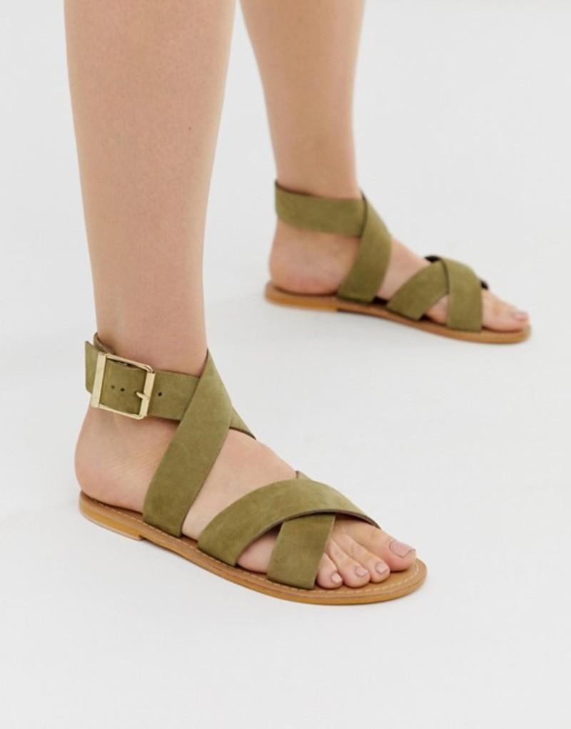 エイソス レディース サンダル シューズ ASOS DESIGN Flossy leather cross strap flat sandals in khaki Khaki