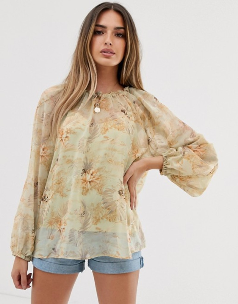 エイソス レディース シャツ トップス ASOS DESIGN long sleeve sheer smock top in hawaiian print Multi