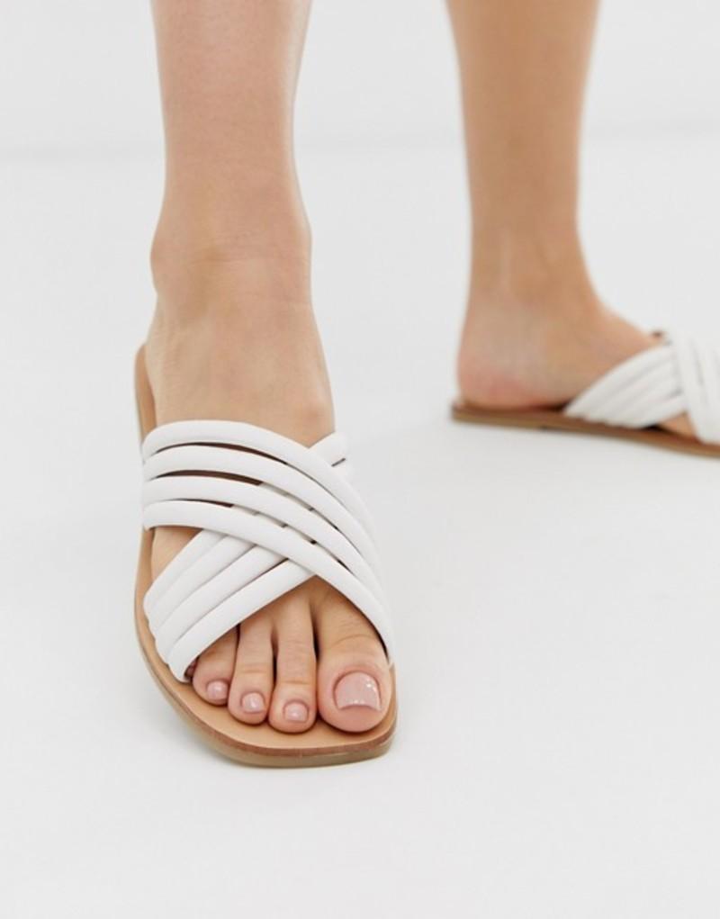 エイソス レディース サンダル シューズ ASOS DESIGN Falsetto cross strap flat sandals in white White