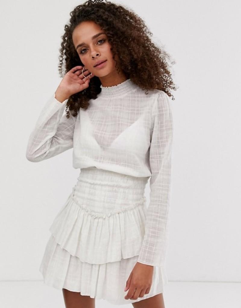 エイソス レディース ワンピース トップス ASOS DESIGN high neck shirred waist mini dress in texture Cream