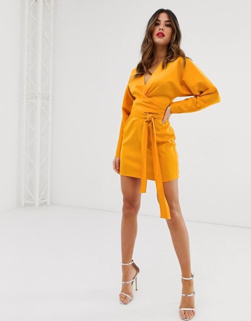 エイソス レディース ワンピース トップス ASOS DESIGN mini dress with batwing sleeve and wrap waist in satin Marigold