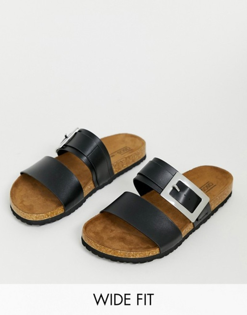 エイソス レディース サンダル シューズ ASOS DESIGN Wide Fit Fool For You sliders in black Black