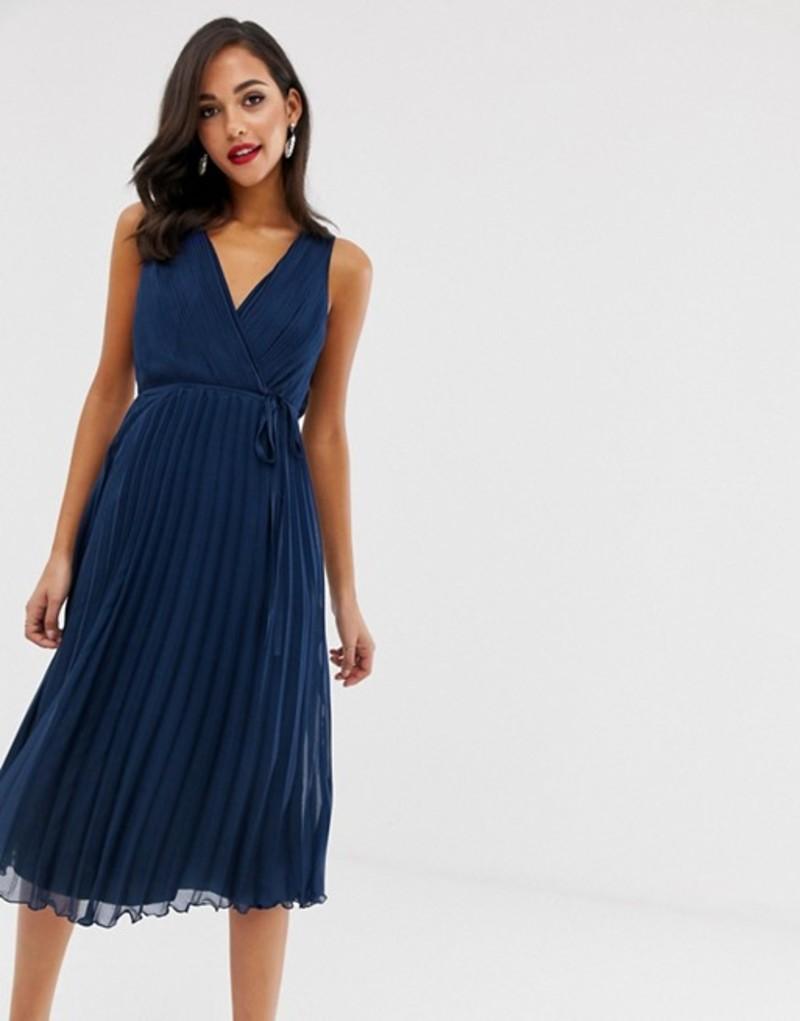 エイソス レディース ワンピース トップス ASOS DESIGN wrap bodice midi dress with tie waist and pleat skirt Navy