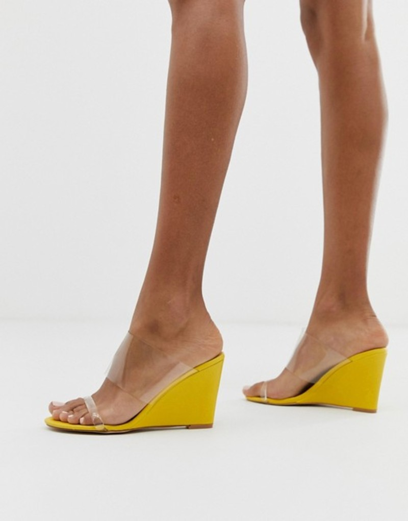 グラマラス レディース サンダル シューズ Glamorous bright yellow clear detail wedge sandals Yellow