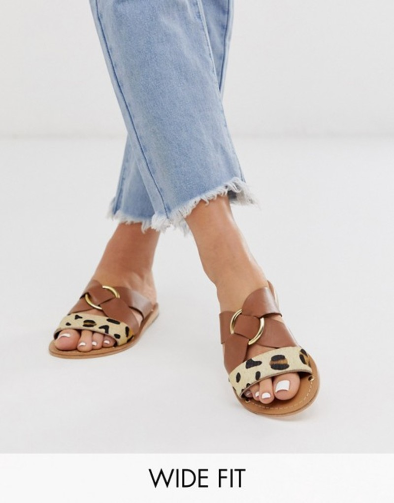 エイソス レディース サンダル シューズ ASOS DESIGN Wide Fit Frankie leather ring detail flat sandals Tan/leopard