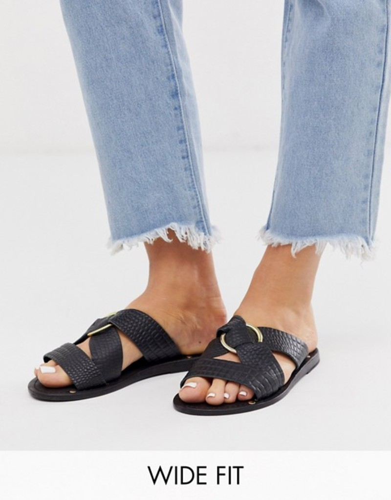 エイソス レディース サンダル シューズ ASOS DESIGN Wide Fit Frankie leather ring detail flat sandals Black croc