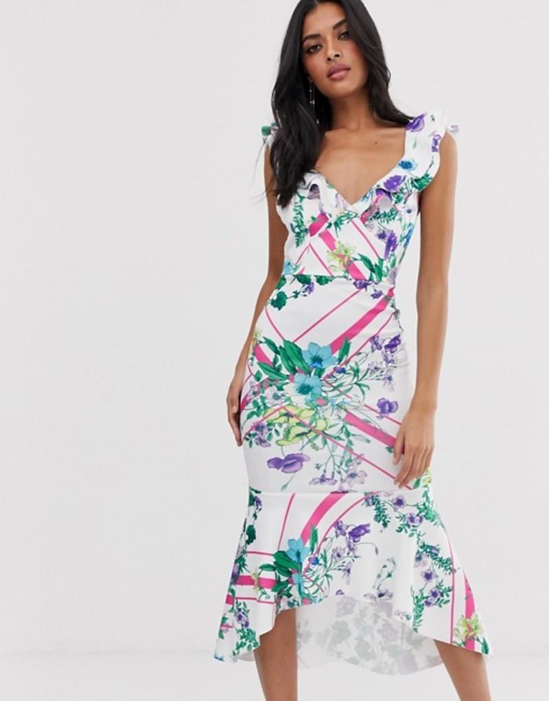 エイソス レディース ワンピース トップス ASOS DESIGN floral grid stripe ruffle bodycon midi dress Multi