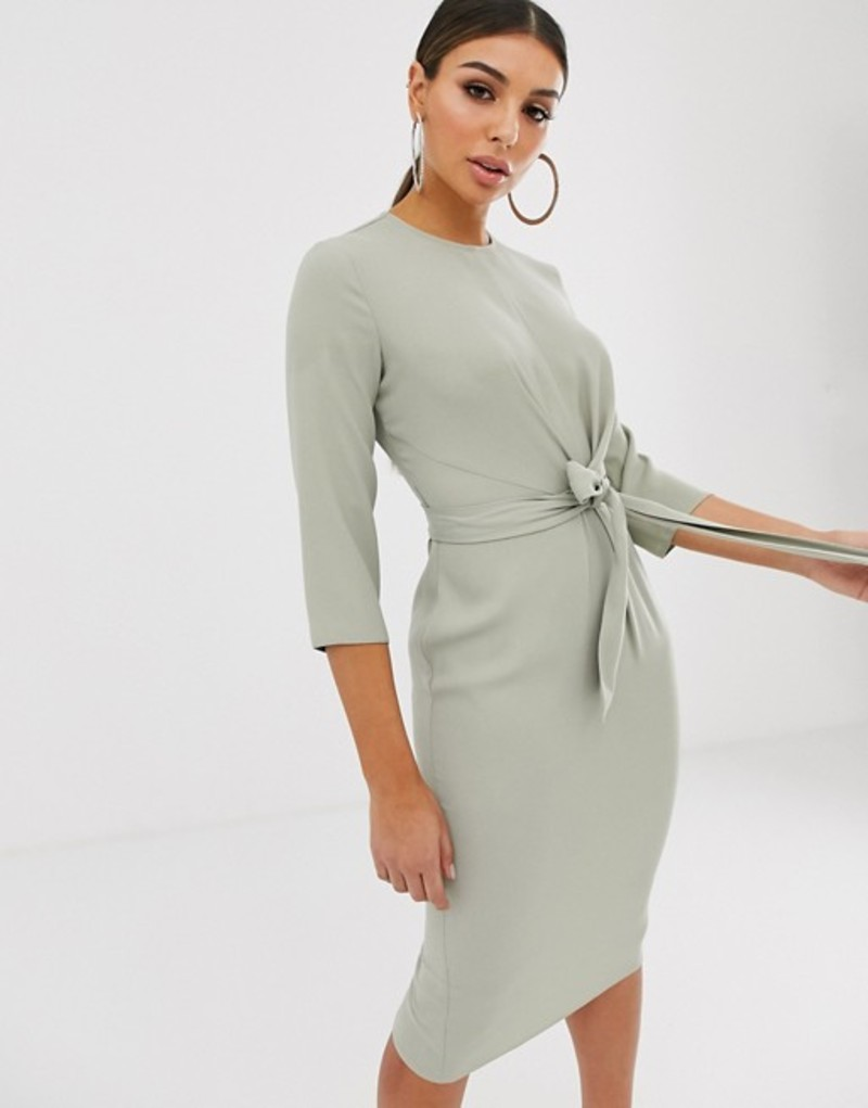 エイソス レディース ワンピース トップス ASOS DESIGN tie wrap around midi dress Sage green