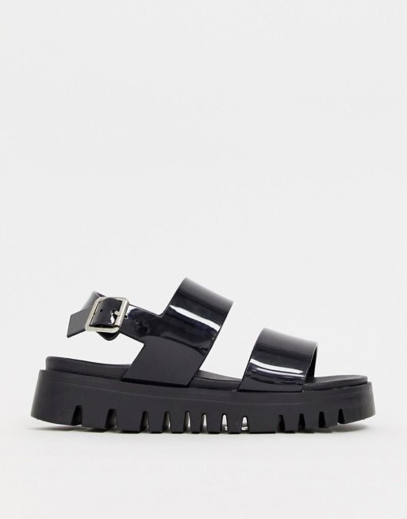 エイソス レディース サンダル シューズ ASOS DESIGN Fadey chunky jelly flat sandals Black