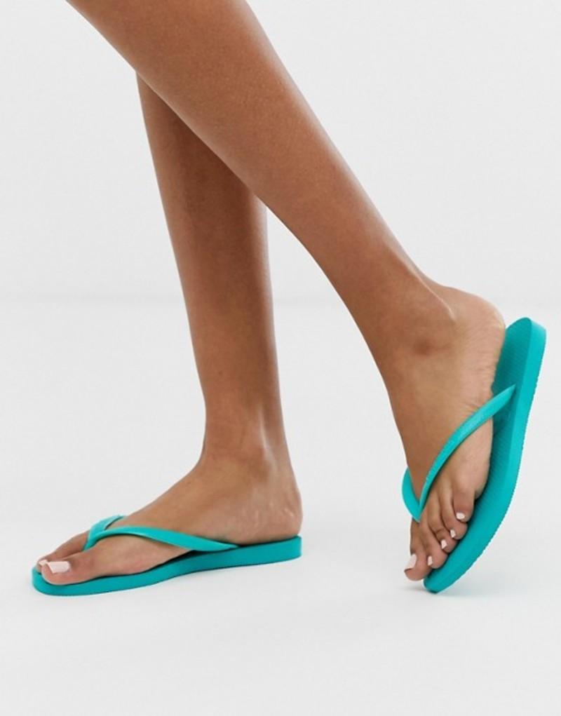 ハワイアナス レディース サンダル シューズ Havaianas slim flip flops in bright turquoise Lake green