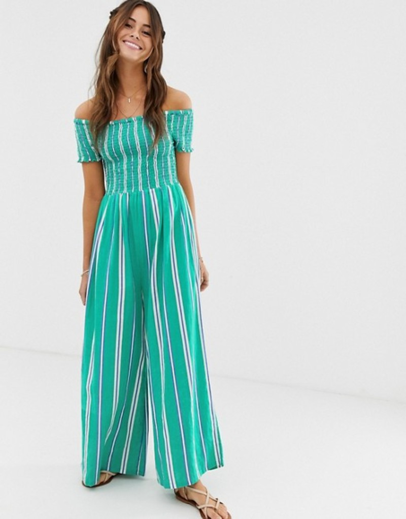 クレオベラ レディース ワンピース トップス Cleobella Jade stripe bardot jumpsuit Emerald