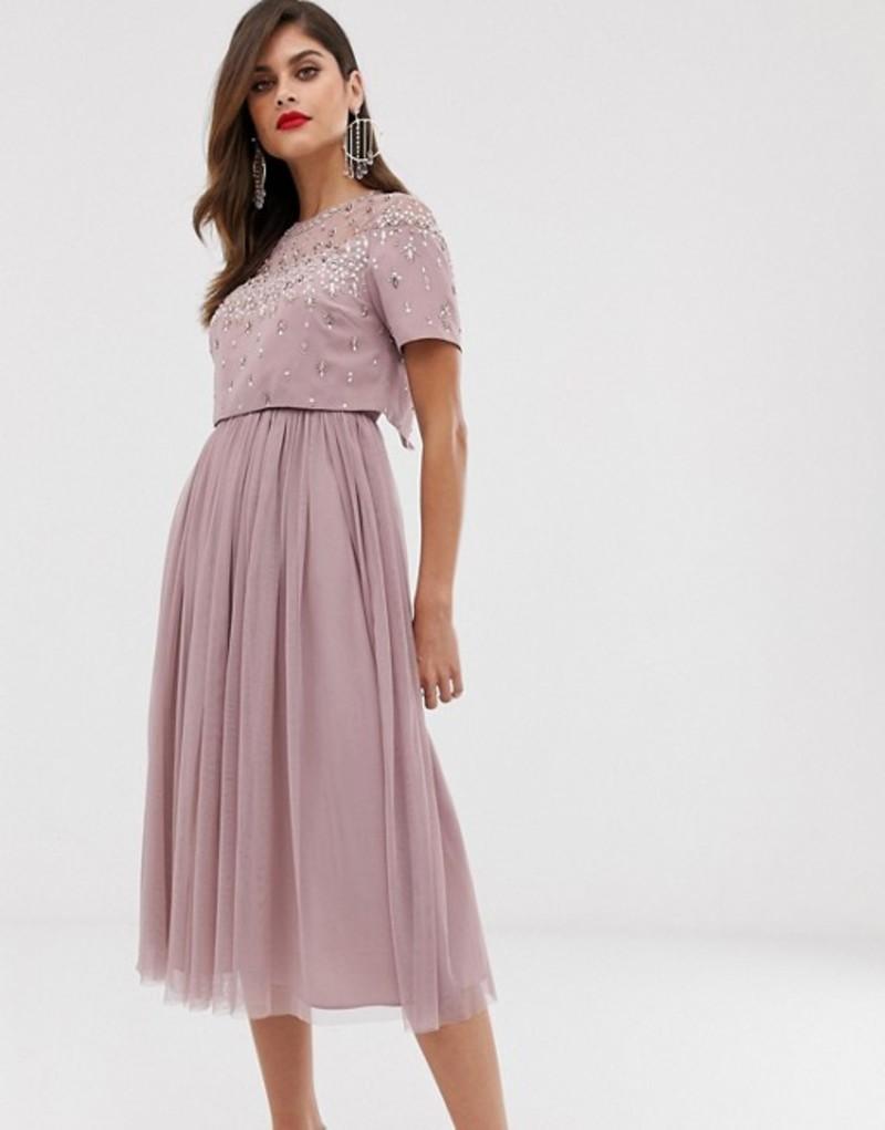 エイソス レディース ワンピース トップス ASOS DESIGN midi dress with embellished crop top and mesh skirt Dusty pink