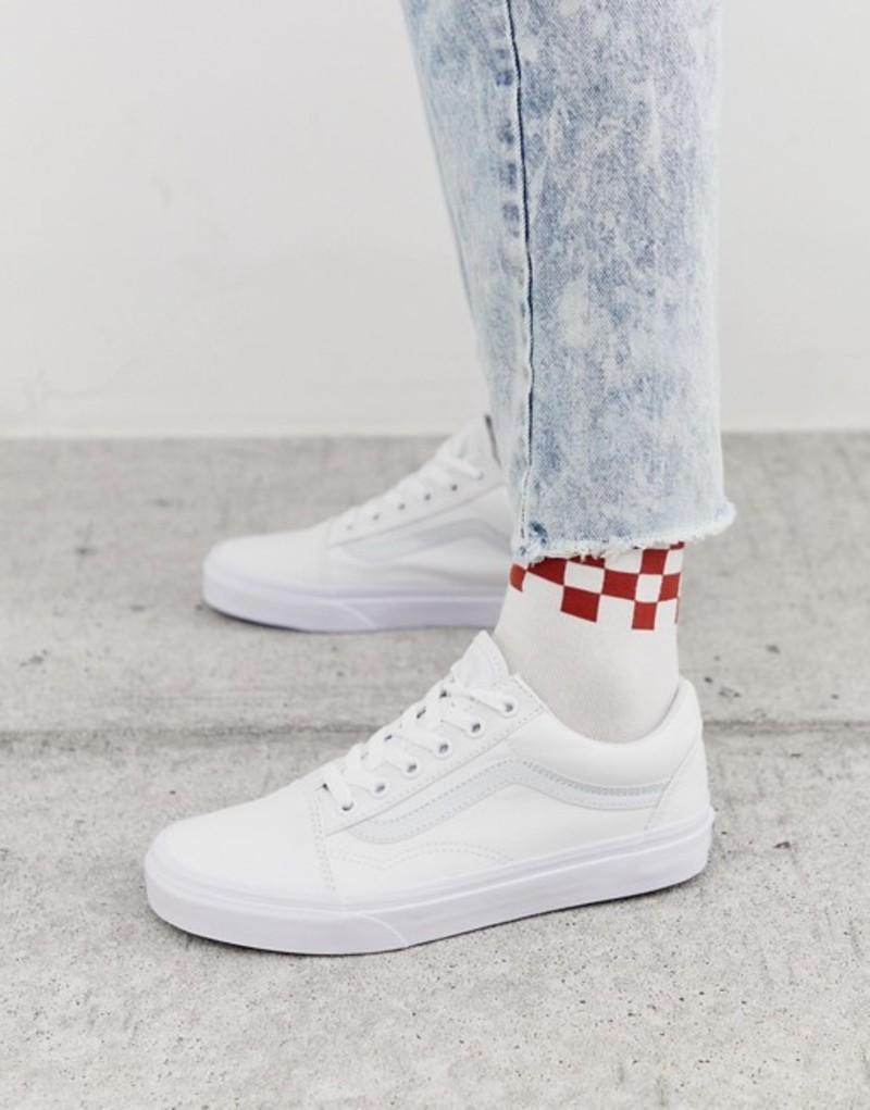 バンズ レディース スニーカー シューズ Vans classic Old Skool triple white sneakers Triple white
