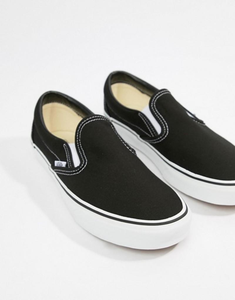 バンズ レディース スニーカー シューズ Vans Classic Slip-On black sneakers Black