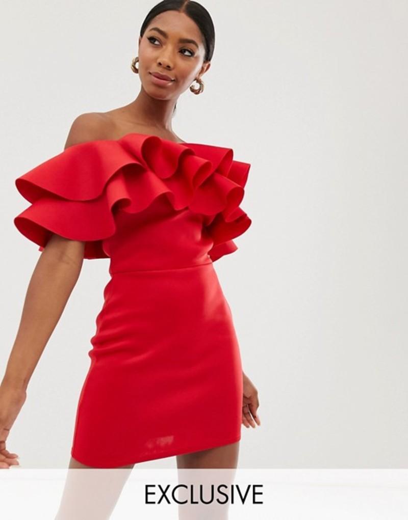 トゥルーバイオレット レディース ワンピース トップス True Violet exclusive exaggerated frill bandeau midi dress in red Red