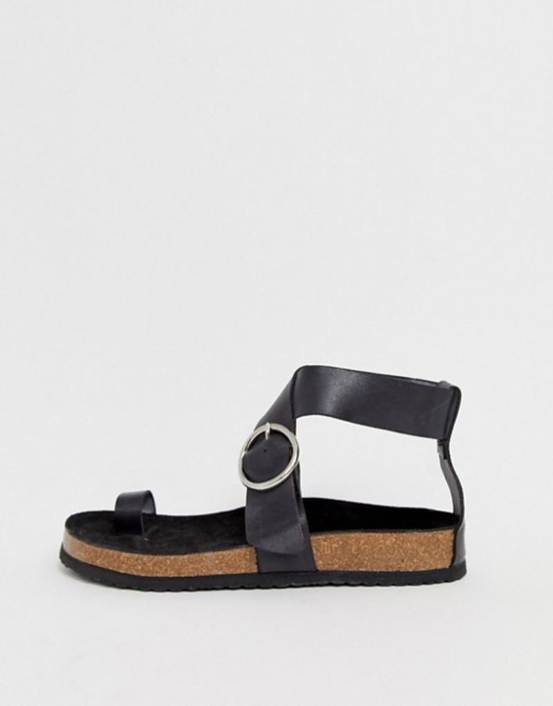 カルタール レディース サンダル シューズ Kaltur Exclusive black leather toe loop sandals with silver buckle Black