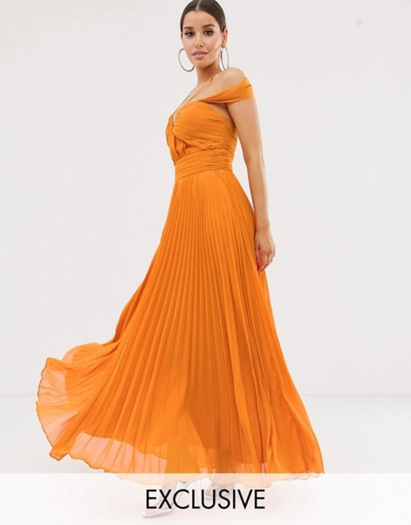 フォーエバーユニーク レディース ワンピース トップス Forever Unique Exclusive cold shoulder maxi gown with pleated skirt in orange Orange