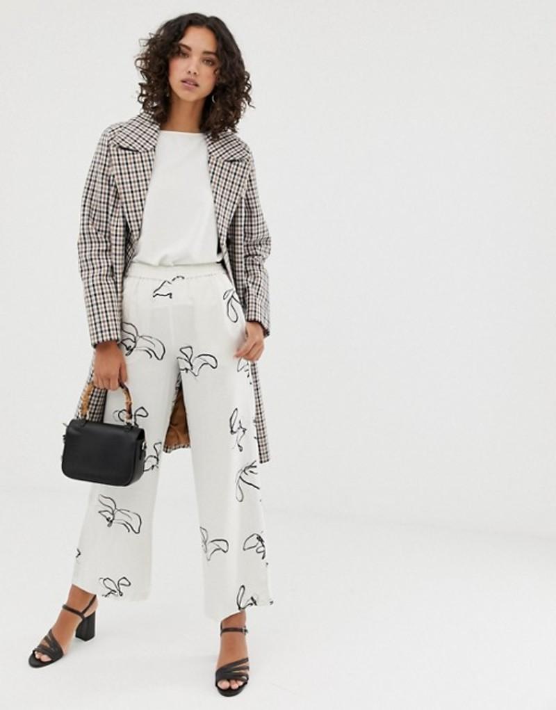 セレクティッド レディース カジュアルパンツ ボトムス Selected Femme printed wide leg pants with elasticated waist White