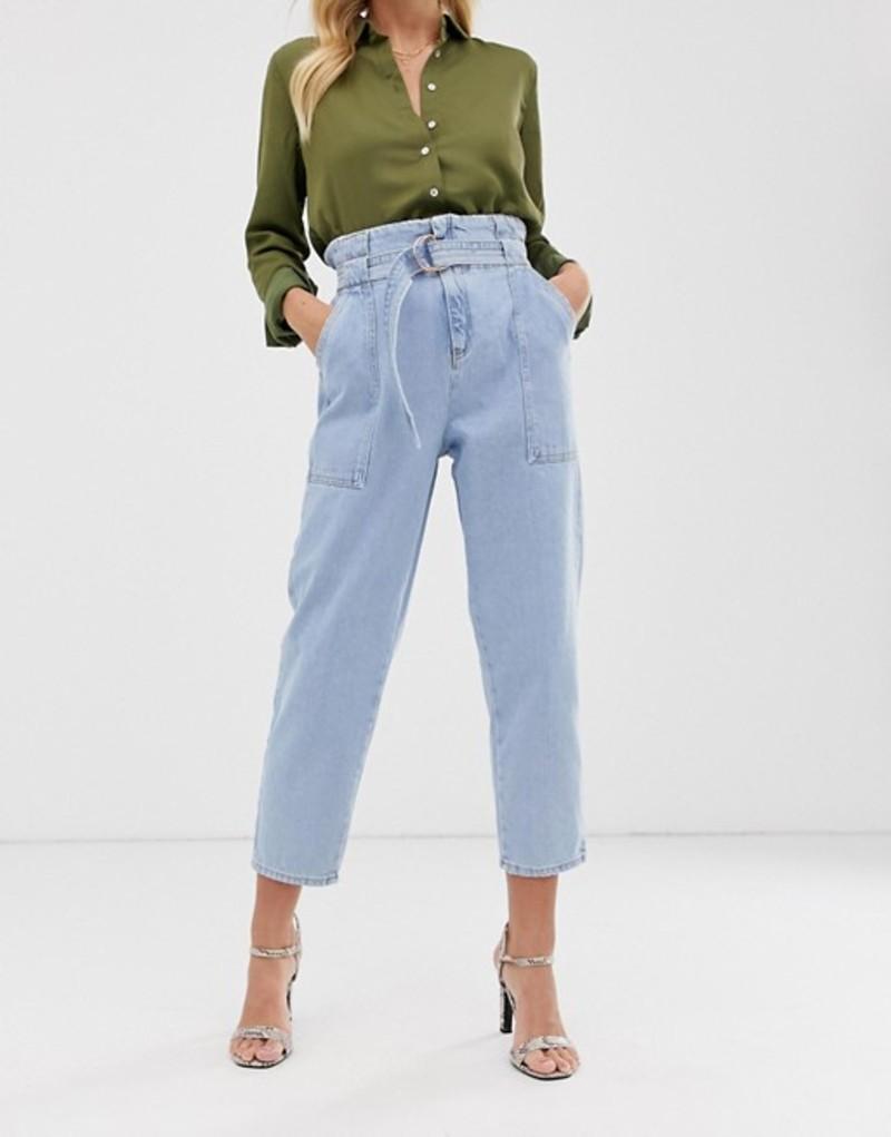 リバーアイランド レディース デニムパンツ ボトムス River Island paperbag waist jeans in light wash Light auth