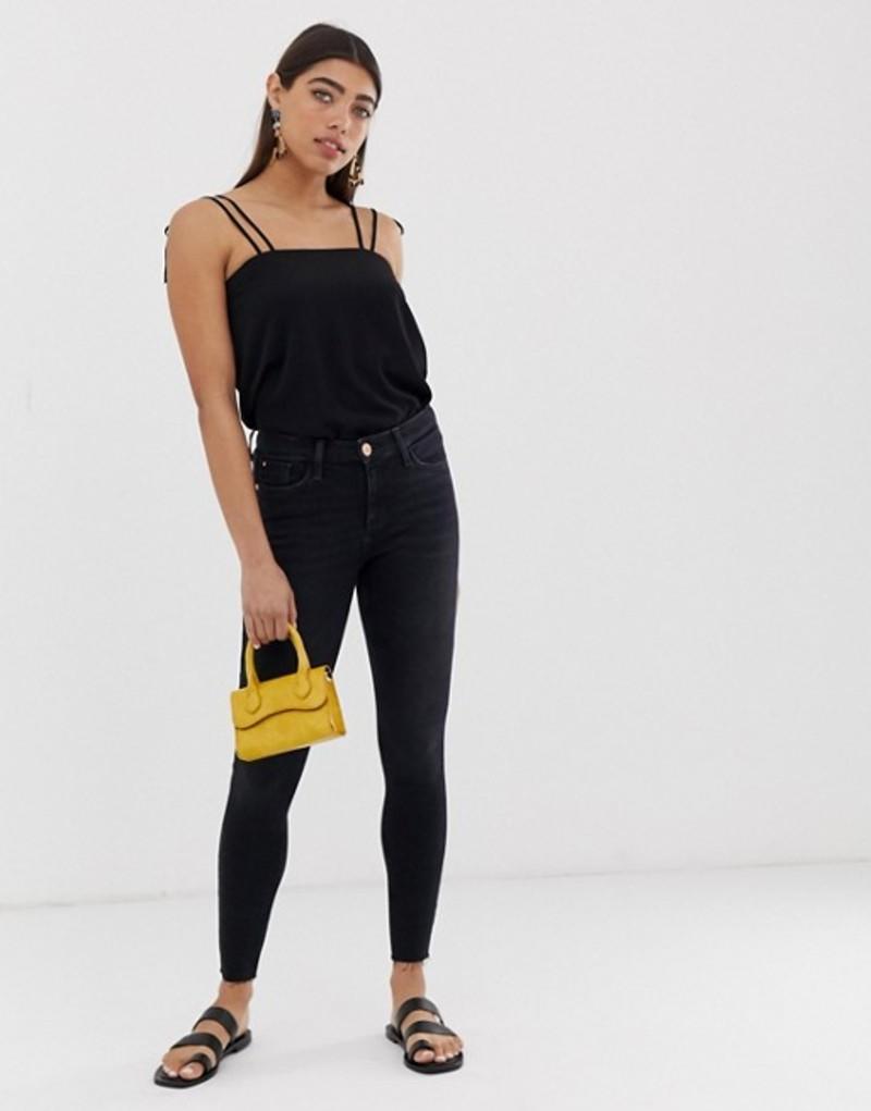 リバーアイランド レディース デニムパンツ ボトムス River Island Amelie skinny jeans in black Black